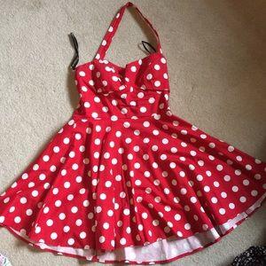 Red polka dot halter minidress!